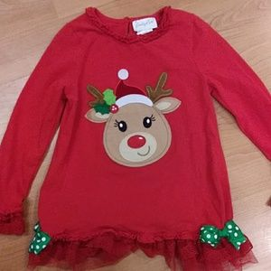 Girls Christmas Reindeer shirt